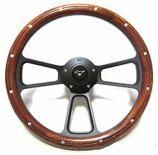 "1984 - 91 Ford Mustang II 14""  Mahogany & Black Billet Steering Wheel, Full Kit"