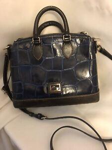 Dooney and Bourke Blue And Black Leather Croc Embossed Handbag Shoulder Bag