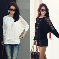 Womens Long Sleeve Casual Dolman Splice Lace Loose T-Shirt Batwing Tops Stylish