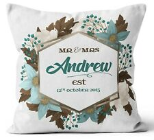 Personalised Any Text Name Cushion Floral Design Mothers Day Wedding Gift 1