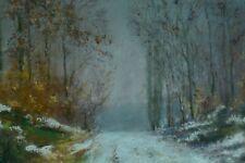 Tableau ancien Paysage Urbain Vincent Paul GROSSIN Forêt Arbre Allongé 19 ème