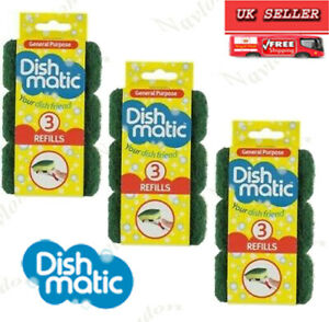 9 x Dishmatic Sponge Refills Green General Purpose/Non Scratch/extra heavy duty