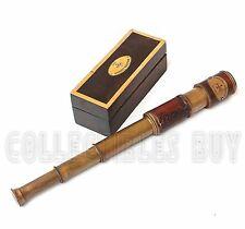 Vintage Leather Telescope Navy London Marine With Wooden Box Antique Gift