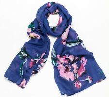 BNWT Blue Floral Print Poly Cotton Elegant Large Scarf Sarong Hijab