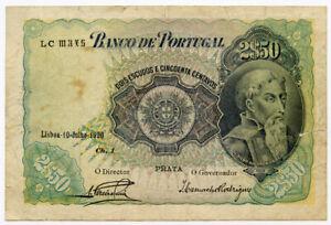 PORTUGAL 1920 ISSUE 2-1/2 ESCUDOS BANKNOTE SCARCE & CRISP.PICK#119.