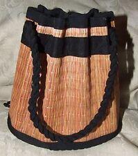 Vintage 1960s Unbranded STRAW Bag Drawstring Closure