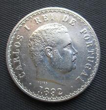 Portugal - 500 Reis 1892 over 1891, 1892/1, Carlos I, Silver - *SCARCE*