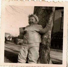 Old Vintage Antique Photograph Cute Baby Wearing Snowsuit Leaning on Tree
