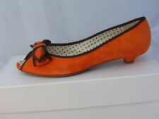 MOSCHINO ORANGE SUEDE LEATHER OPEN TOE FLAT  6.5 36.5