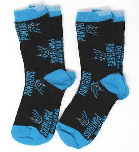 Carolina Panthers NFL FBF Logos Crew (2 Pair) Socks *Youth Kids Toddler 3-8