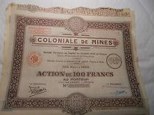 1929 LOT DE 5x ACTIONS 100F COLONIAL DE MINES @ SUP DECO @
