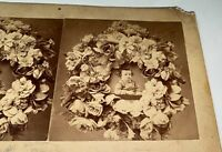 Rare Antique Victorian American Child Death Mourning Flowers Stereoview Photo!