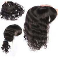 Mono Base Wavy Hair 100% Remy Human Hair Clip in Topper Hairpiece With Flat Bang