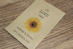 Personalised Seed Packets Envelopes Wedding Favours Colour Vintage Sunflower