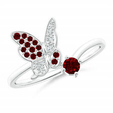 Women's Fashion Silver Wedding Jewelry Natural Ruby Gemstone Promise Ring Size 8