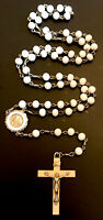 Vintage White Glass 5 Decade First Communion Remembrance Rosary Italy