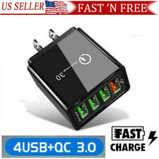 4 Port Fast Quick Charge 3.0 USB Hub Wall Charger Adapter Multi US Plug USA