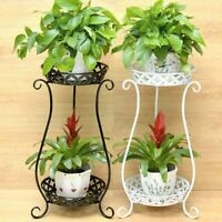 2 Holder Metal Plant Pot Stand Flower Display Shelf Garden Patio Outdoor  Indoor