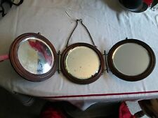 Antique Triple Vanity Shaving hanging Mirror Oak Brass All Original Bevel Circle
