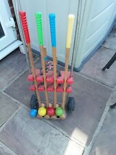 New listingCroquet set with hoops pegs mallets and trolley