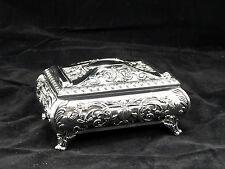 Medium Rectangular Silver Color Jewellery Trinket Treasure Chest / Music Box