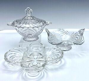 3 Cambridge Caprice Elegant Glass Items Bon Bon Celery Footed Candy Dish w/Lid