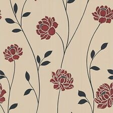 Colours Sienna Black, Cream & Red Floral Wallpaper - 2 Rolls