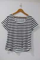 JAG Size XL or AU 16 | Women's Basic T-shirt White Navy Striped Short Sleeve