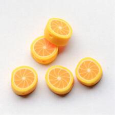 50 BULK Beads Polymer Clay Beads Yellow Lemon Beads 10mm Fruit Beads
