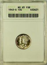 1940-S Mercury Dime 10c Coin ANACS MS-65 FSB Full Split Bands Lightly Toned
