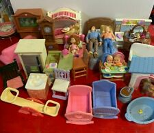 Fisher price Loving Family dollhouse lot of Furniture Figures Twin babies + pet