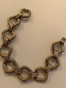 Fine Vintage Heavy Solid Sterling Silver Bark Effect Linked Bracelet - 47 Grams