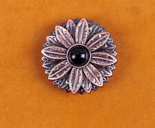 10PCs 30*30MM Flower Concho with Black Turquoise Center Antique Copper Screwback