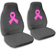 Breast Cancer Ribbon Seat Covers Charcoal with Hot Pink Ribbon