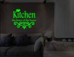 Luminous Kitchen Heart of Home Wall Stickers Kids Bedroom Kitchen Decals UK 32df