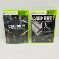 Call of Duty: Black Ops I 1 & II 2 (Microsoft Xbox 360) Lot of 2-Tested Clean