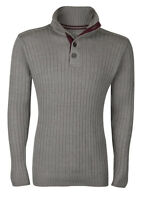 ATTIRE Mens New Knitted Jumper Turtle Neck Pullover Sweater Grey Button Up
