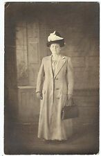 1918 Real Photo Postcard -Woman in Trench Coat/Purse/Hat Meissner Chicago IL/Ill