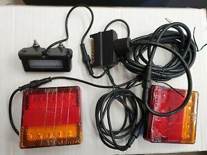 TRAILER LIGHT WIRING HARNESS 8 X 5 FT , 2 LAMPS, LICENSE PLATE LIGHT, FLAT PLUG