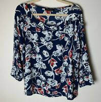 Ivanka Trump Women's Top Size XL Floral 3/4 Sleeves Ruffles Blue White Red Black