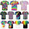 Funny Tie-dye Colorful 3D Print Tee Women Men Casual T-Shirt Short Sleeve Tops