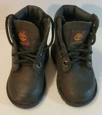 Timberland Black Leather Ankle Boots Toddler Boys Sz 4 EUC