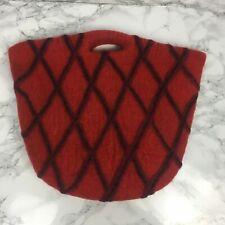Josephine Karen Wool Basket Bag Red Diamond  Quirky Handbag M Size