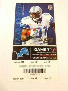 2012 Detroit Lions Calvin Johnson Houston Texans NFL Football Club Ticket Stub