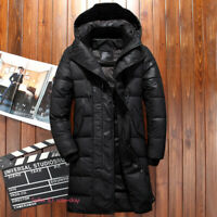 Mens Winter Casual Hooded Warm Duck Down Jacket Long Coat Puffer Thick Parka