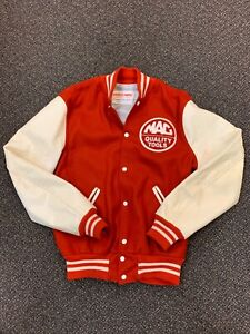 Vintage Holloway Mac Tools Varsity Wool College Jacket U.S.A Made Large 44 Red