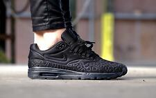 NIKE AIR MAX 1 ULTRA PLUSH WOMENS TRAINERS SHOE SIZE UK 8.5  EUR 43 TRIPLE BLACK