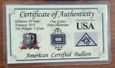 1 Gran Pure Platinum 99,9 % im Blister Platin Barren Anlage Neu Bullion Gold