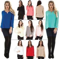 Lockre Sitzende Damenblusen,-Tops & -Shirts mit V-Ausschnitt und Viskose für Business