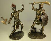 SET of2* ORISHA OGGUN & CHANGO Yoruba African God War Fire Statue Sculpture Ogun